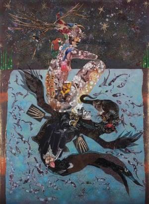 Wangechi Mutu Beneath lies the Power, 2014 Collage painting on vinyl 212.1 x 156.2 cm.