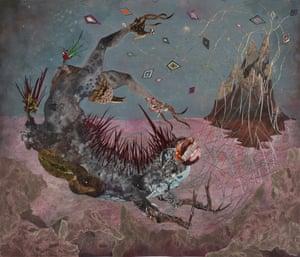 Wangechi Mutu The screamer island dreamer, 2014 Collage painting on vinyl184.8 x 154.9.