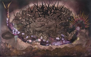 Wangechi Mutu, My mothership, 2014. Collage painting on linoleum 63.5 x 100.3 cm
