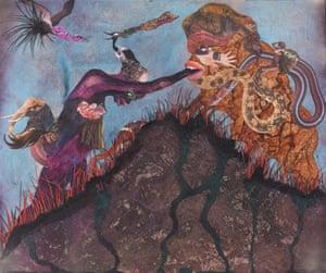 Wangechi Mutu, Mountain of prayer, 2014. Collage painting on vinyl. Unframed 77.5 x 90.2 cm