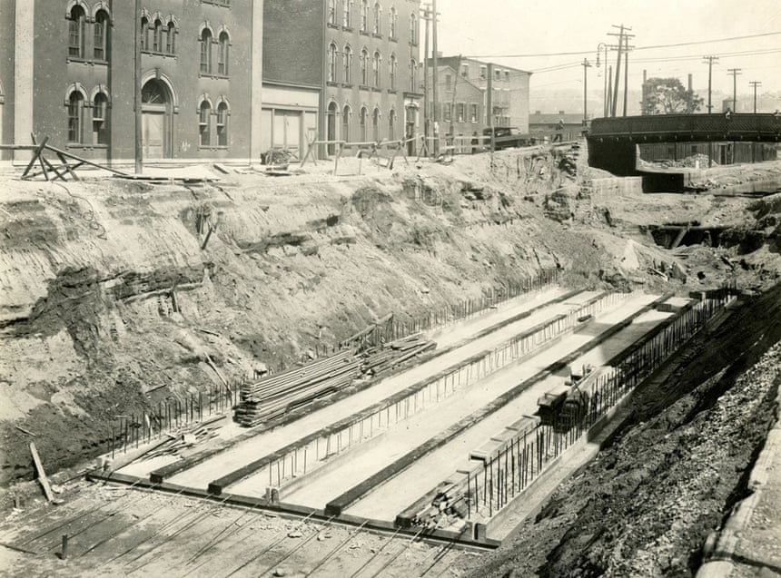 Subway tunnels under construction in Cincinnati.