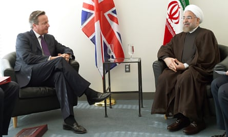 David Cameron meets with Hassan Rouhani at the UN in New York