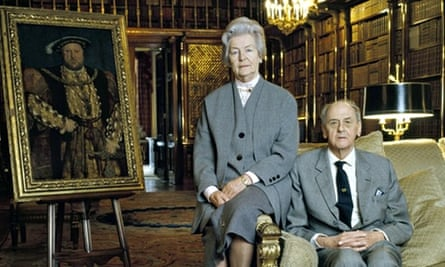 The Duke and Duchess of Devonshire in the library at Chatsworth.