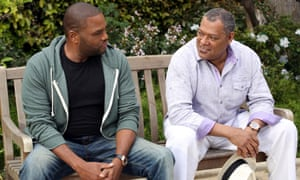 """Anthony Anderson, left, and Laurence Fishburne in a scene from the comedy """"Black-ish,"""""""