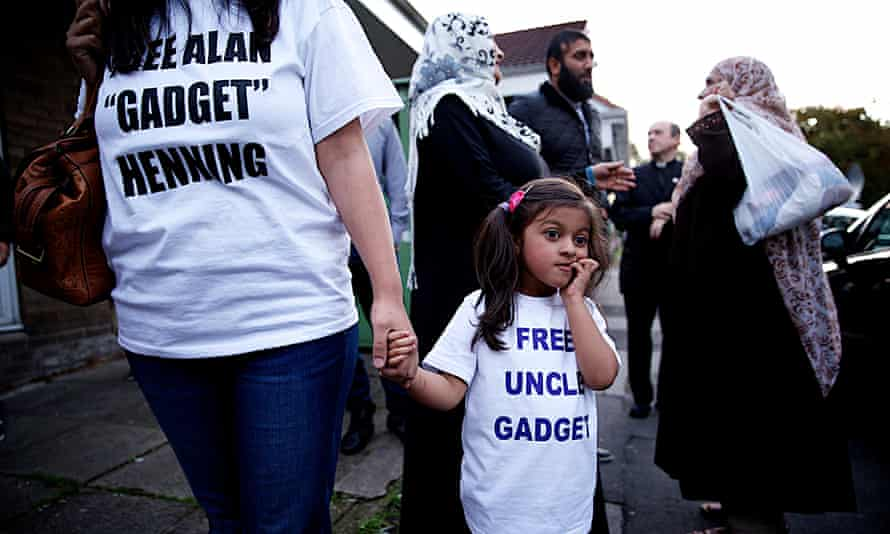 Jamaal Amir at a peace vigil in Bolton for aid worker Alan Henning who is being held hostage by Isis