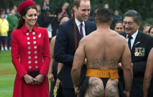 Prince William and his wife Catherine meet a Maori warrior during a welcoming ceremony.