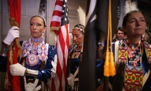 Native American women warriors at the opening ceremony of the White House Tribal Nations Conference in Washington, DC.