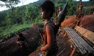 Young soldiers from the All Burma Students Democratic Front rebel group.