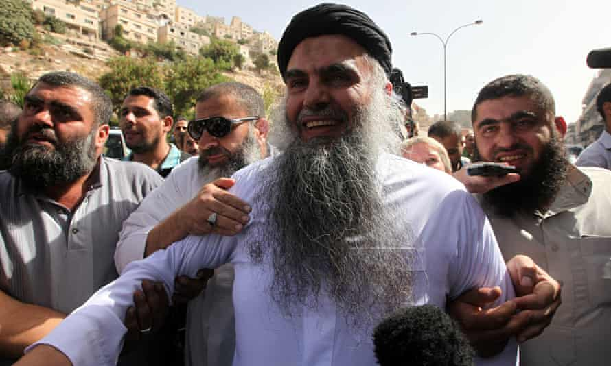 Abu Qatada after being cleared of terror charges In Jordan