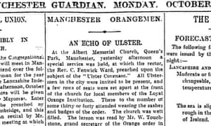 Ulster Covenant in Manchester, Guardian 7 October 1912