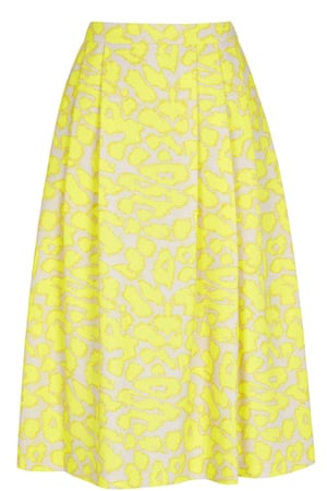 yellow patterned skirt with pleats