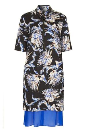 printed short sleeved dress blue black red white yellow pattterned