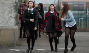 School pupils leave a polling station after voting in Edinburgh