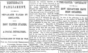 Ulster covenant, Manchester Guardian 18 October 1912