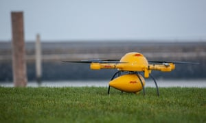 DHL's Parcelcopter on the land.
