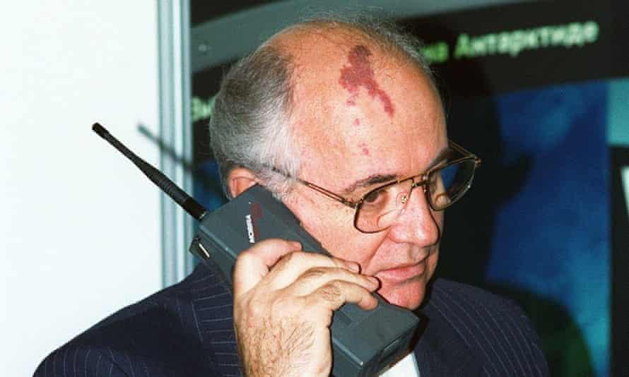 Talking head: former Soviet president Mikhail Gorbachev speaking on a Nokia Mobira Cityman.