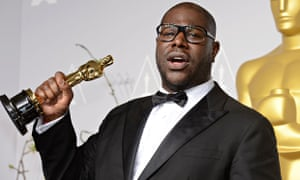 Steve McQueen with his Best Picture Oscar for 12 Years A Slave.