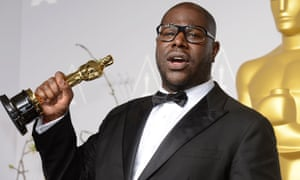 Steve McQueen with his Best Picture Oscar for 12 Years A Slave. Photograph: Xinhua /Landov/Barcroft