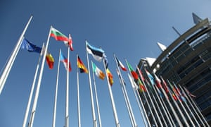 Member flags flying outside of the EU Parliament Building in Strasbourg, France.