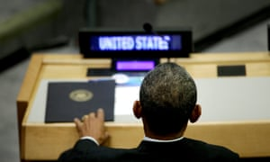 United States President Barack Obama waits to speak at a meeting about the international response to the Ebola virus outbreak during the 69th session of the United Nations General Assembly at United Nations headquarters in New York, New York, USA, 25 September 2014.
