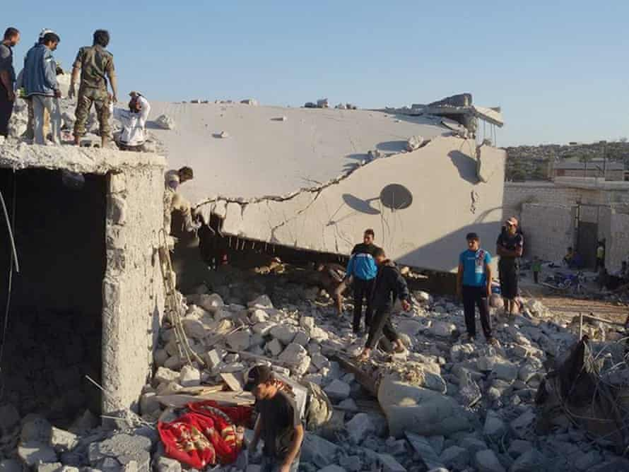 A house damaged by a coalition air strike in Aleppo.