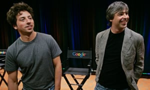Google co-founders Larry Page, right, and Sergey Brin, left, at Google headquarters in Mountain View, California.