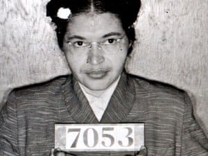 A Montgomery sheriff's Department booking photo of Rosa Parks from 1956, taken after Parks refused to give up her bus seat to a white man.