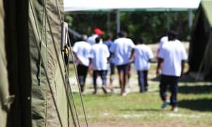 Asylum seekers in the detention centre on Nauru.