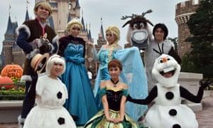 Frozen characters at Tokyo Disneyland in Urayasu on 8 September, 2014.
