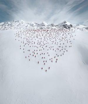 200 freerider skiers on Melchsee-Frutt, Switzerland.