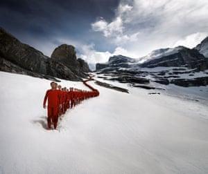 200 testers take part in Mammut testevent for alpine underwear. Location: Eiger, Switzerland.