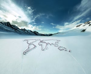 """Mammut celebrates its 150th anniversary in 2012 when Mammut fans, mountain guides and journalists came together to create a representation of the world map on the """"Ewig Schneefeld"""" between the Eiger, M nch and Jungfrau"""