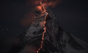 To celebrate 150 years since the first ascent of the Matterhorn, Mammut and Zermatt mountain guides created a string of lights over the mountain.