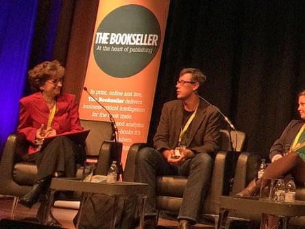 Nicolette Jones (left) speaking at The Bookseller Children's Conference.