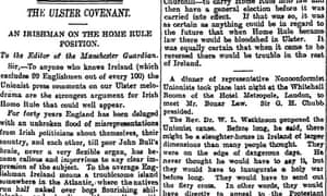 Letter on Ulster Covenant, Manchester Guardian 26 October 1912