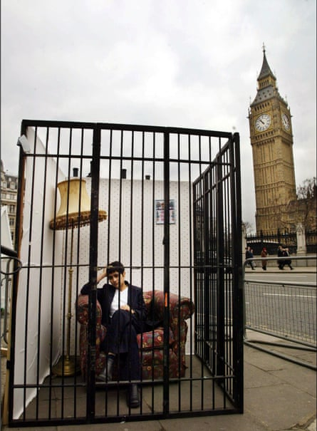 Chakrabarti demonstrates outside Parliament against the Prevention of Terrorism Bill, 2004