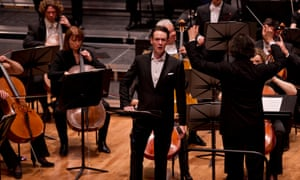 Ian Bostridge, centre, onstage at Saffron Hall with the RPO conducted by Vladimir Jurowski (right).