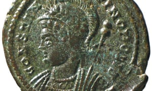 One of the Roman coins in the Seaton Down hoard of 22,000 coins found by Laurence Egerton