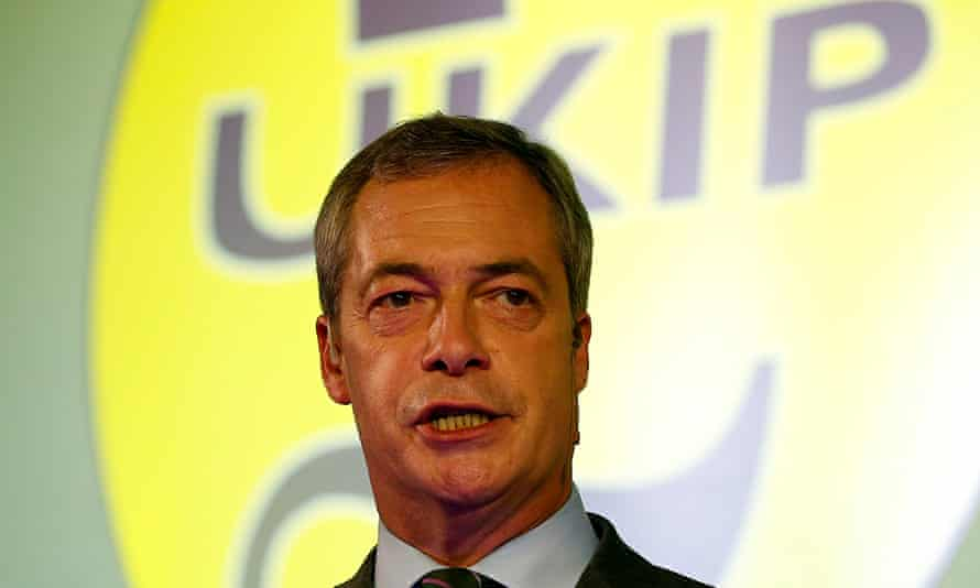 Nigel Farage speaking at Ukip's annual conference at Doncaster Racecourse. Photograph: Andrew Yates/