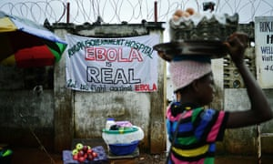 A sign warns that 'Ebola is real' in Freetown, Sierra Leone.