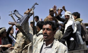 """Houthi members rally to celebrate what they describe as a """"Friday of Victory"""", after seizing control of the Yemeni capital,."""