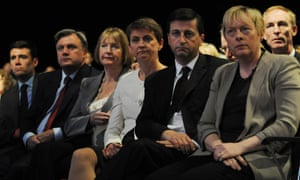 Andy Burnham, Ed Balls, Harriet Harman, Yvette Cooper, Douglas Alexander, Angela Eagle and Jim Murphy watch Labour leader Ed Miliband deliver his keynote speech to the Labour Party conference in Manchester.