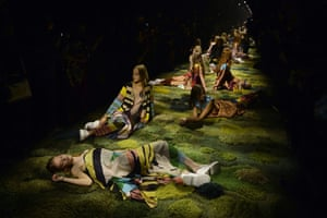At Paris fashion week, models present designs by Dries Van Noten