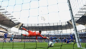 Manchester City's Frank Lampard scores a late equaliser against his former club, Chelsea, at the Etihad stadium in Manchester