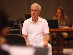 David Byrne in rehearsals for Here Lies Love.