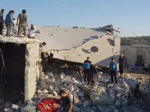 Fallout: the aftermath of a coalition strike on a house in the Syrian village of Kfar Derian.