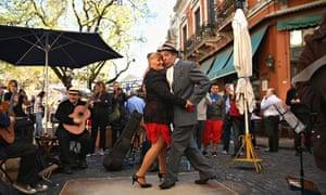 A couple dance the tango in San Telmo