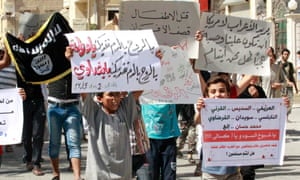 Protest against the US air strikes in Raqqa, Syria, 26 September 2014.