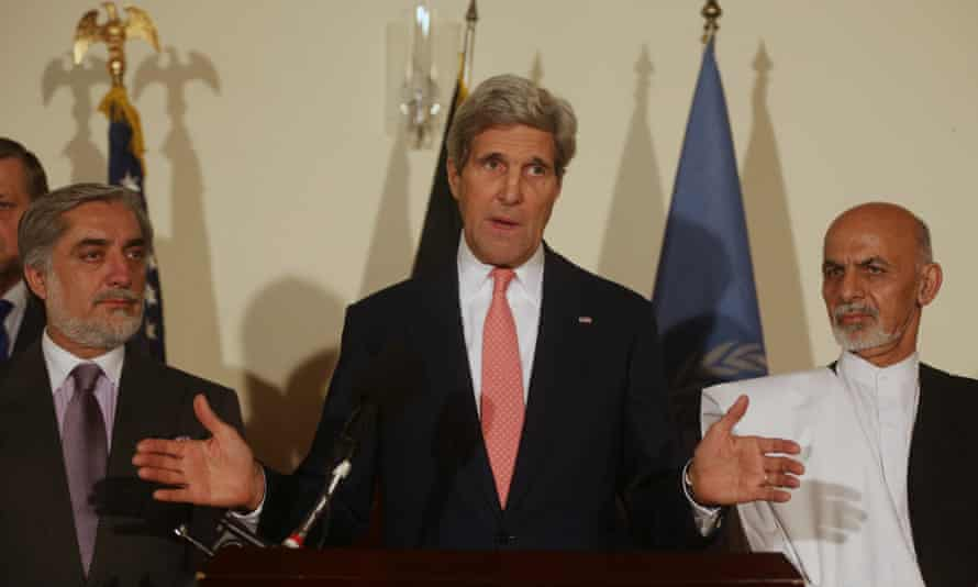John Kerry, center, Abdullah Abdullah, left, Ashraf Ghani Ahmadzai. afghanistan