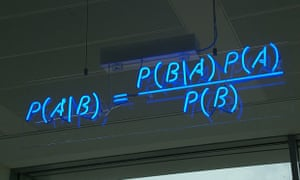 Bayes' theorem spelt out in blue neon at the offices of Autonomy in Cambridge.